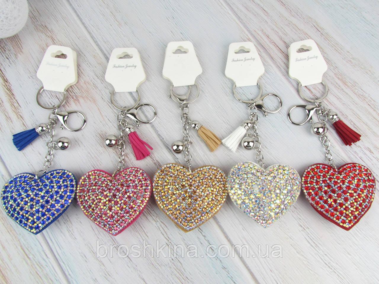 Брелки замшевые с кристаллами Сердце 6 шт/уп.