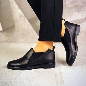 Черные женские туфли лоферы из натуральной кожи и замши 36-40 р