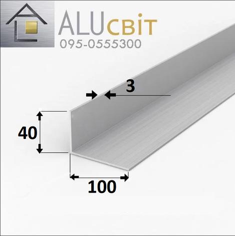 Уголок алюминиевый 100х40х3  без покрытия, фото 2