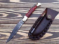 Нож складной  из дамасской стали штопор  Red +точилка С