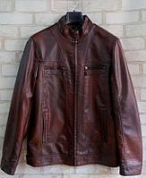 Демисезонная мужская куртка из кожзама размеры 48-58, коричневого цвета