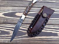 Нож складной  из дамасской стали штопор  Коричневый +точилка С
