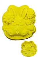 Силиконовая форма для выпечки Пасхальный Кролик с цветами
