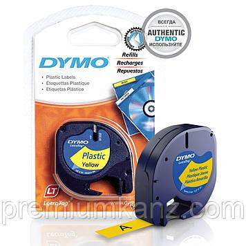 Лента пластиковая, желтая 12мм х 4м DYMO для принтера LetraTag