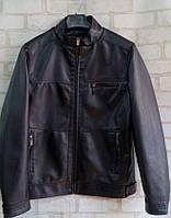 Демисезонная мужская куртка из кожзама размеры 48-58, черного цвета
