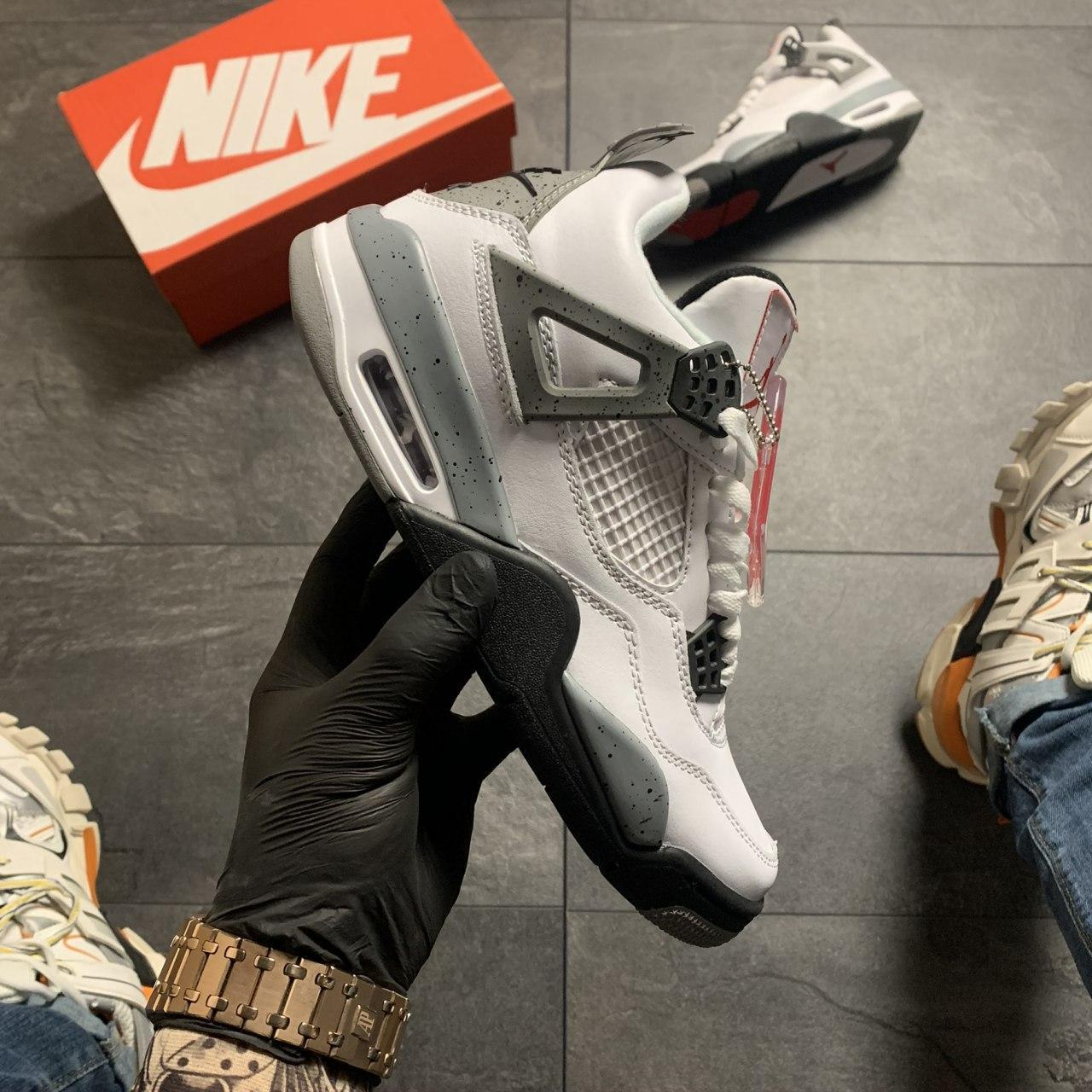 Мужские кроссовки Nike Air Jordan 4 Retro Grey White, Реплика