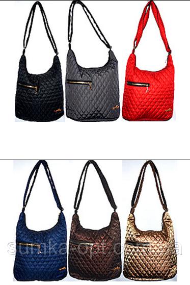 Женские стеганные сумки на плечо с боковой змейкой (6 цветов ОДНОТОННЫЙ)29*32см