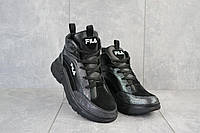 Женские кроссовки кожаные зимние черные Lions F