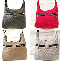 Женские стеганные сумки с 2мя змейками по боках (5 цветов ОДНОТОННЫЙ)29*32см, фото 1