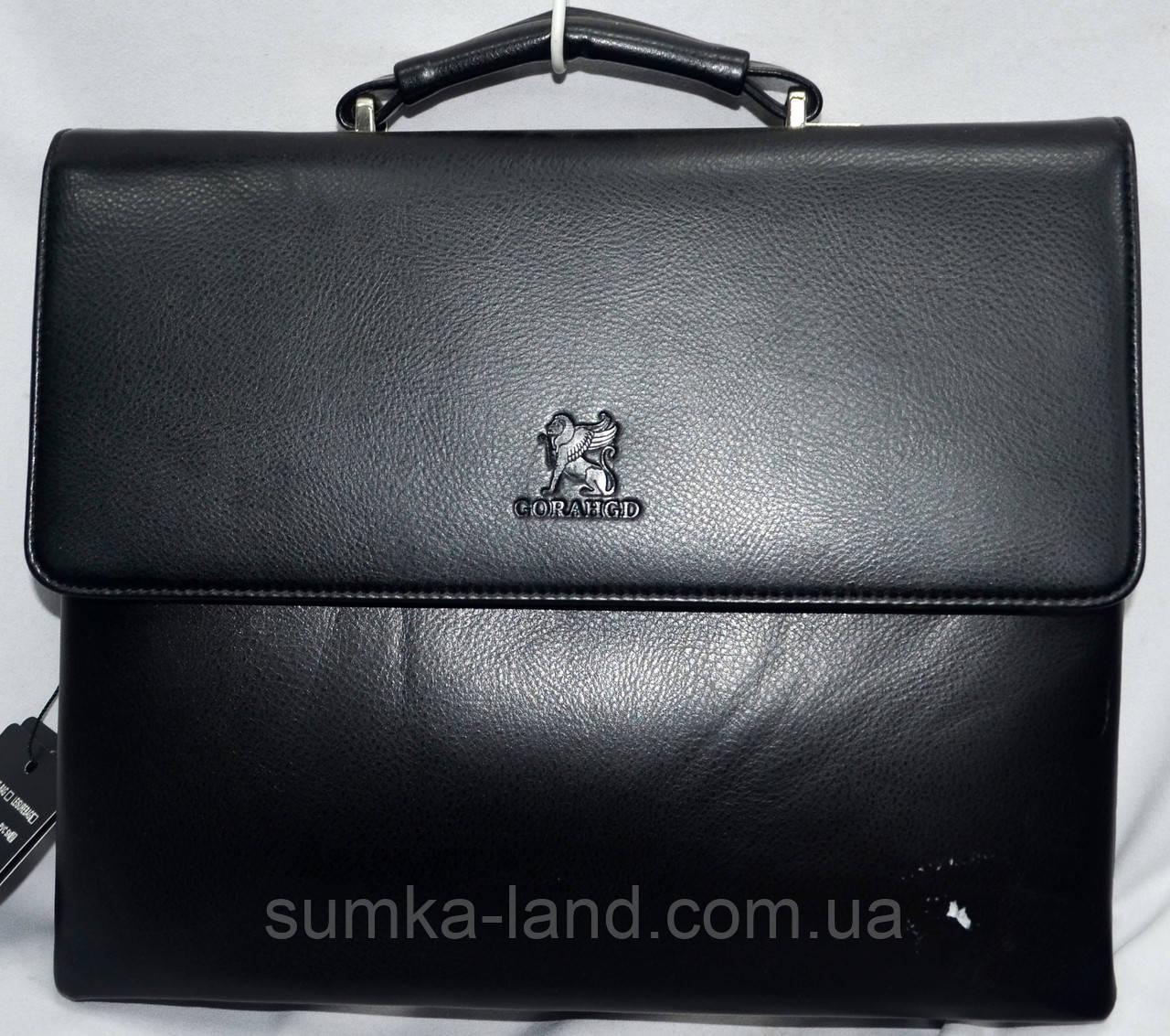 Мужская черная сумка, барсетка на плечо с клапаном и на 3 отдела на молнии 33*26 см