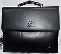 Мужская черная сумка, барсетка на плечо с клапаном и на 3 отдела на молнии 33*26 см, фото 1