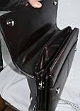 Мужская черная сумка, барсетка на плечо с клапаном 33*26 см, фото 3