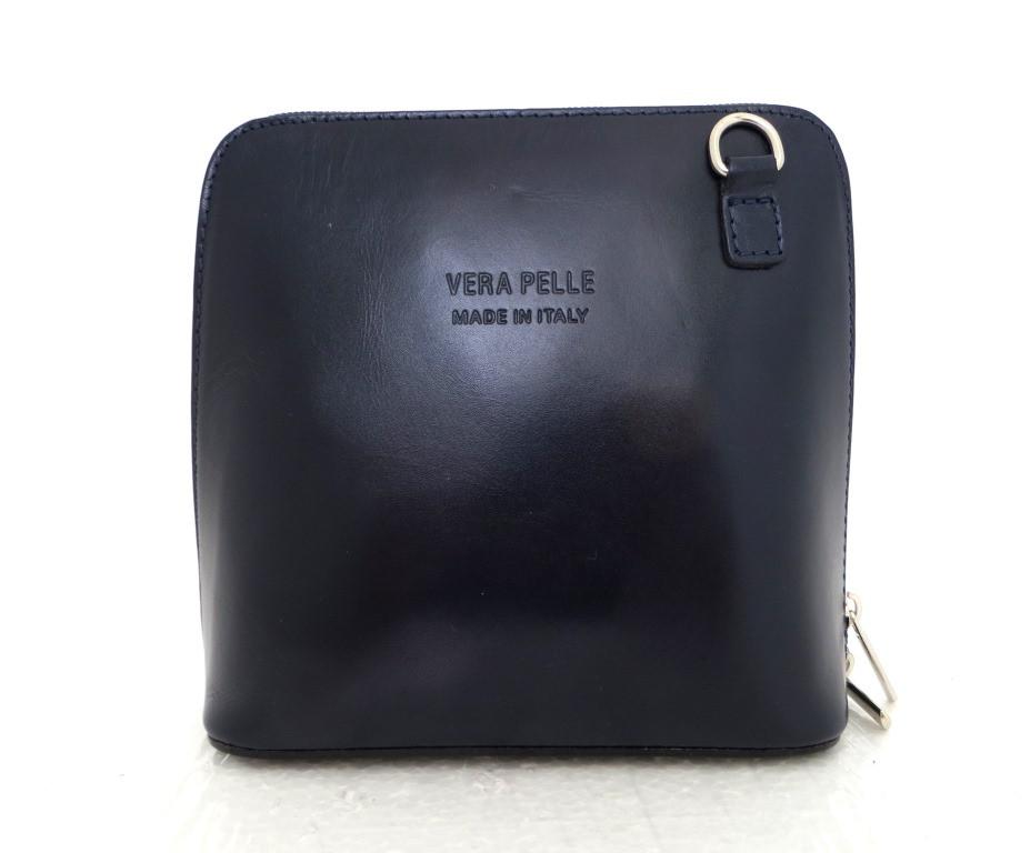 Маленькая женская сумочка. 100% кожаная. Италия. Темно-синий