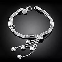 Браслет Сердца Стерлинговое Серебро 925 проба (Покрытие)