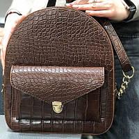 Модный женский рюкзак на два отделения шоколадный