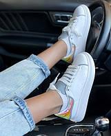 Кожаные женские кроссовки Alexander McQueen с рефлективом