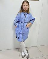 Вишите плаття для дівчинки блакитний льон 3/4 Іванка