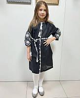 Вишите плаття для дівчинки чорний льон 3/4 Іванка