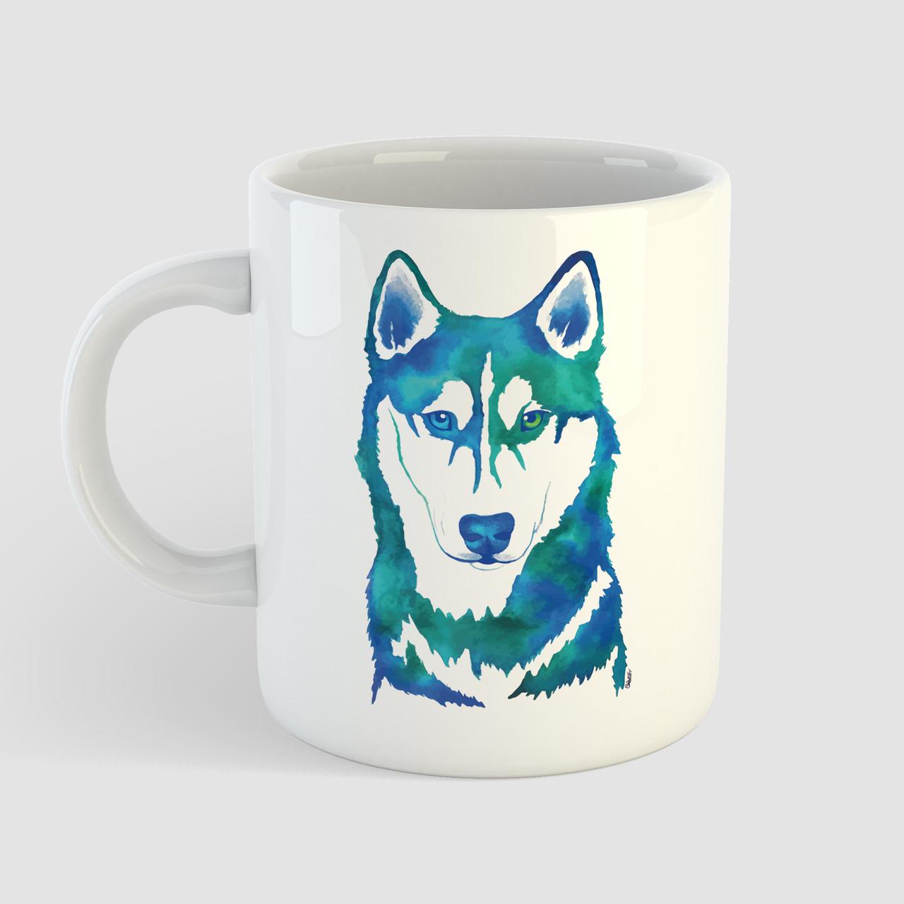 Кружка с принтом Волк. Wolf art. Чашка с фото