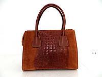 Женская замшевая сумка 100% натуральная кожа. Италия. Коричневый