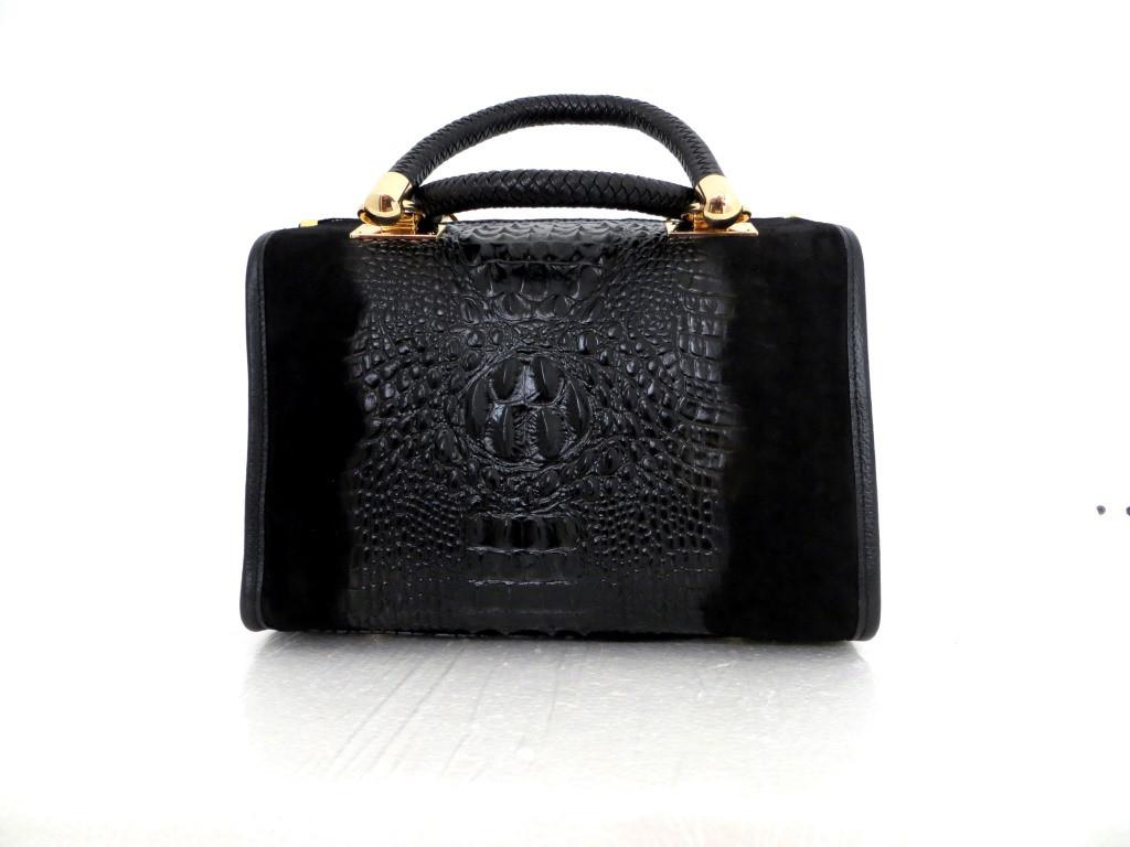 Женская замшевая сумка 100% натуральная кожа. Италия. Черный, фото 1