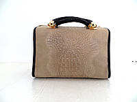 Женская замшевая сумка 100% натуральная кожа. Италия. Кофе с молоком