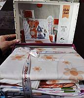 Постельное белье, для новорожденных, мишка с кошечкой, Victoria, Турция