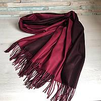 Двойной женский кашемировый шарф-палантин, двухстронний: темно-фиолетовый-бордовый, кашемир