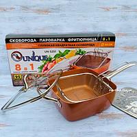 Фритюрница сковорода пароварка 8в1 UNIQUE UN-5251 24 см