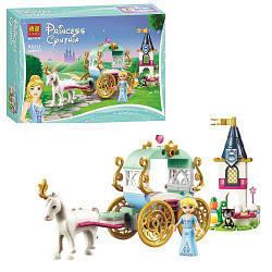 Конструктор Принцессы, замок, карета с лошадью, фигурка, 92 детали, 11174