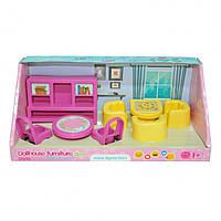"""Набор мебели для кукол Tigres """"Гостиная"""", шкаф для книг, обеденный стол, 8 элементов, 39696"""