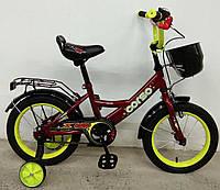 """Детский двухколесный велосипед 14"""" с ручным тормозом и родительской ручкой на сидении Corso G-14314 красный"""