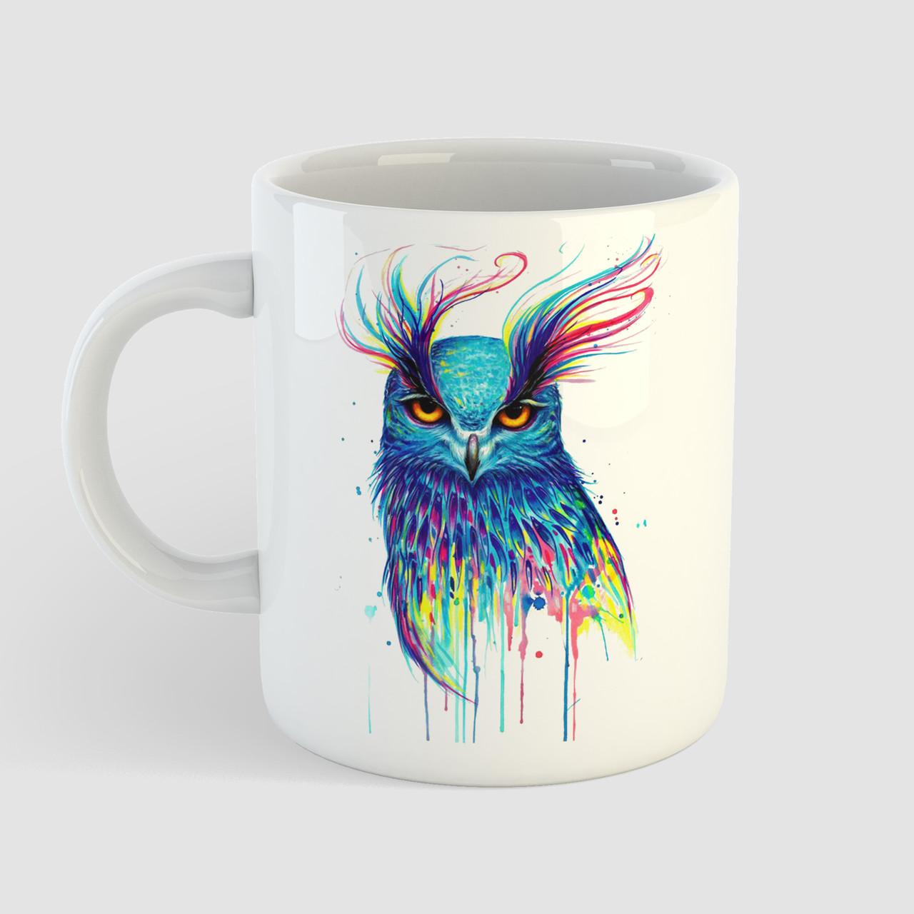 Кружка с принтом Сова арт. Owl art. Чашка с фото