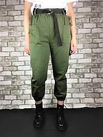 Женские брюки хаки с коричневым поясом, фото 1