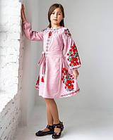 Вишите плаття для дівчинки рожеве д/р Квіти Праги