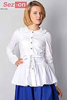 Блузка женская с поясом - Белый