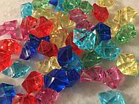 Кристаллы камни декоративные осколки 1,5х1,5 см микс 6 цветов 100 гр