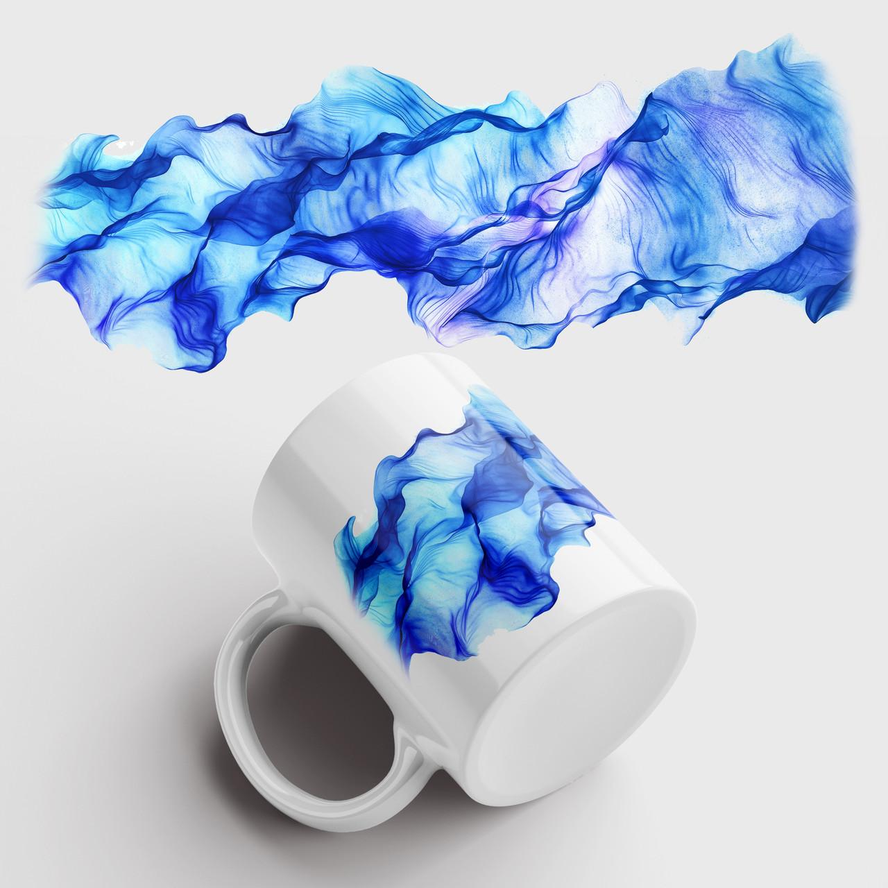 Кружка с принтом Синий Дым. Smoke art. Чашка с фото
