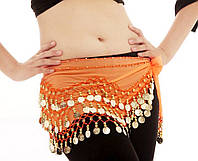 Пояс для восточных танцев оранжевый с монетками, фото 1