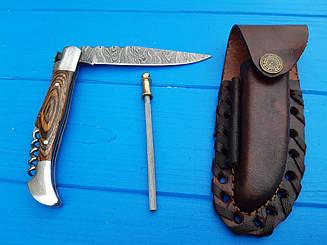 Нож складной  из дамасской стали  S- 52 Brown+точилка