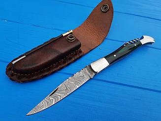 Нож складной  из дамасской стали  S- 52 Green+точилка