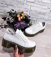 Белые кросовки Dr. Martens из натуральной кожи