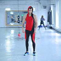 Мужская спортивная майка с капюшоном fitU Shadow red