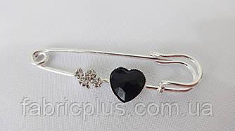 Булавка декор.  5 см  сердечко  серебро