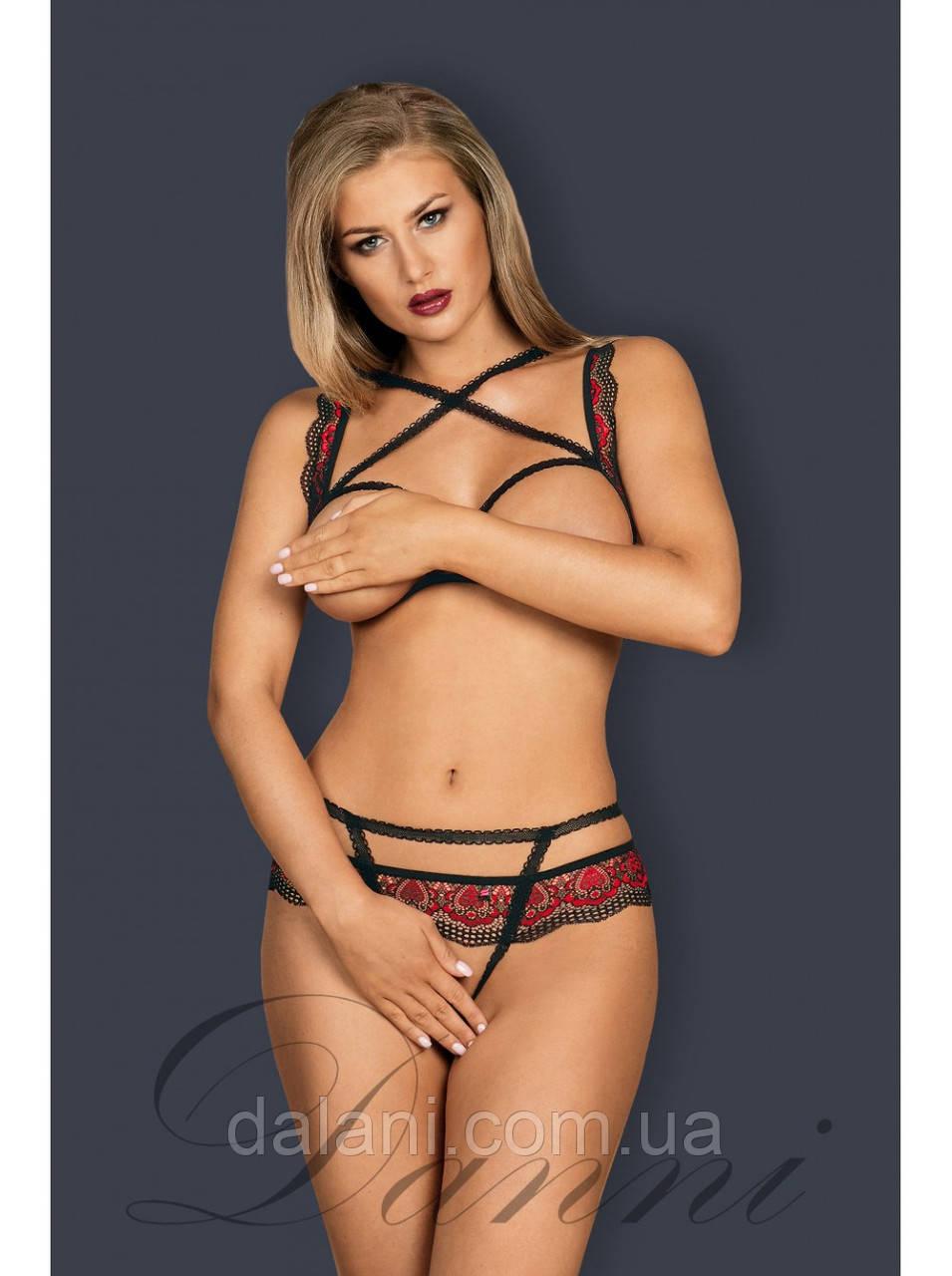 Откровенный чёрно-красный комплект женского белья