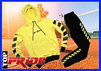 Спортивный костюм мужской с капюшоном, Off White  весна/лето/осень (черный -желтый)
