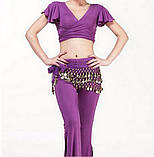 Пояс восточный женский для танцев живота с монетками с монетками сиреневого цвета, фото 3