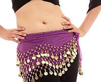 Пояс восточный женский для танцев живота с монетками с монетками сиреневого цвета