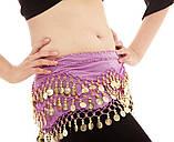 Пояс восточный женский для танцев живота с монетками с монетками сиреневого цвета, фото 5