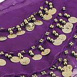Пояс восточный женский для танцев живота с монетками с монетками сиреневого цвета, фото 4
